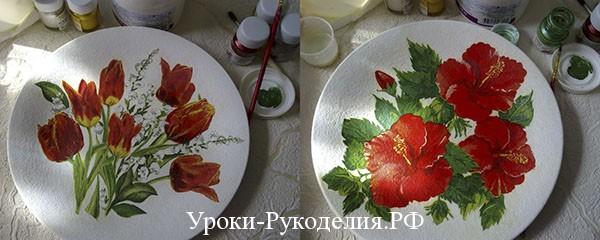 акриловая краска, декупаж тарелки, рукоделие, мастер-класс,подарок для любимых