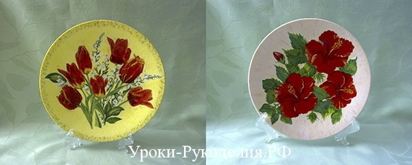 декупажная тарелка, мастер-класс, уроки рукоделия, красота, декор тарелки, подарок