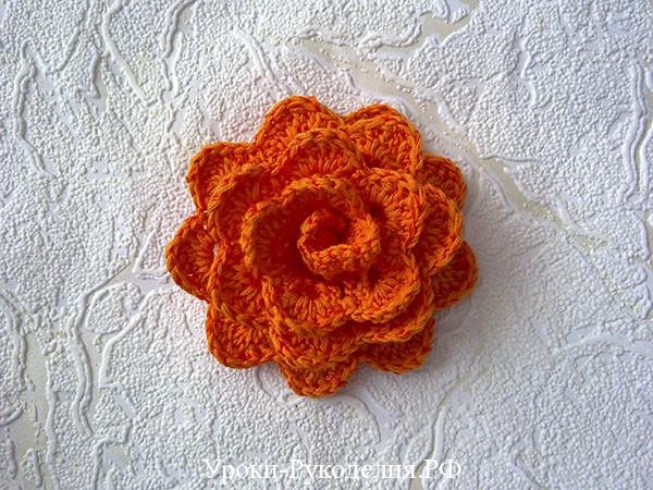 цветок вязанный крючком, уроки рукоделия, объёмный цветок, схема цветка