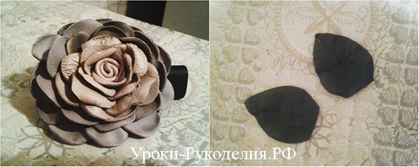 кожаная роза, декор сумки, украшение из кожи
