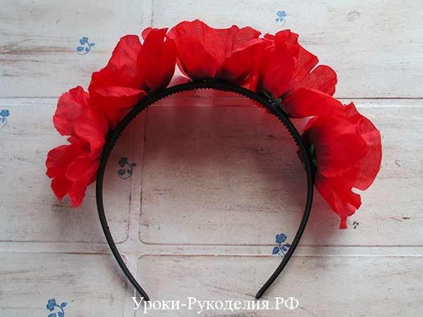 обруч для волос с цветами, своими руками, искуственный цветы, аксессуар для волос, украшение для головы