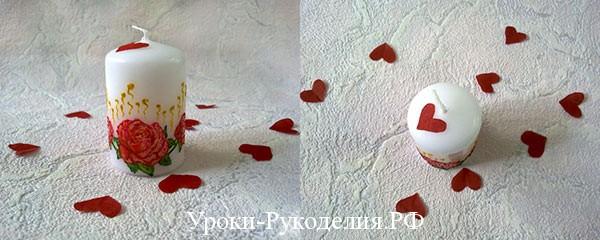 свеча к празднику, декупаж свечи, декор свечи, романтика
