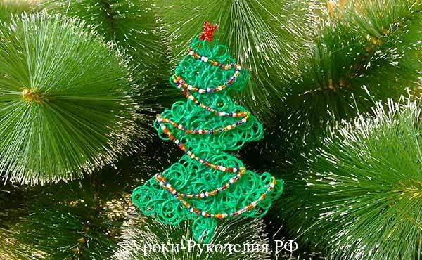 ёлка из ниток, мастер-класс по изготовлению игрушки на ёлку, новогодний мк, новогоднее настроение, рукоделие