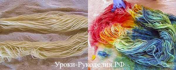 покраска шерсти дома, чем покрасить шерсть, как выкрасить пряжу, эффект старины, мастер-класс по рукоделию, полезная информация для швей и кукольников
