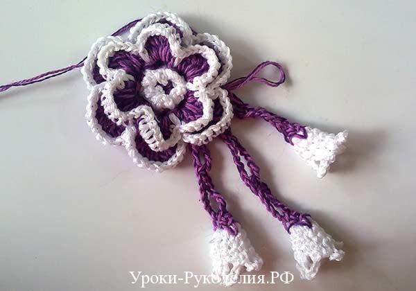 вязаный объёмный цветок, вязанные колокольчики, роза крючком, букет цветочный, как связать украшение своими руками, узор крючком