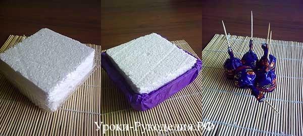 иготовление букета из конфет, как сделать из конфет букеты, сладкие букеты, свит дизайн, композиция цветы конфеты, мк букет