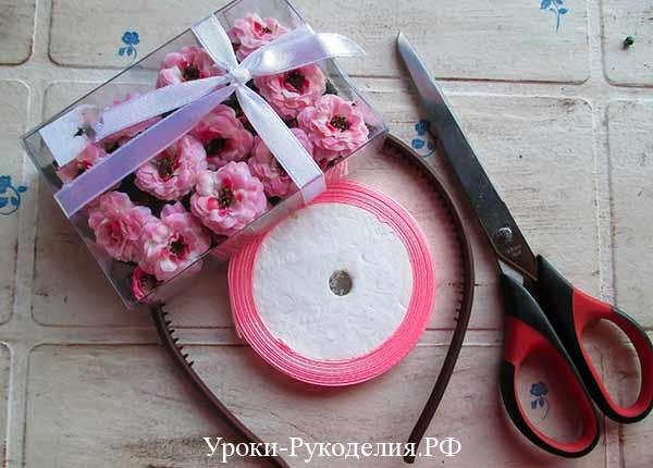 цветы для декора ободка, как сделать ободок на голову с цветами, урок рукоделия, атласная лента, декоративные цветы
