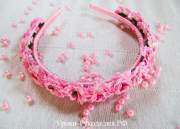 для девочки ободок, цветочное украшение, цветы на голову, ободок из цветов, искусственый цветок, декор ободка