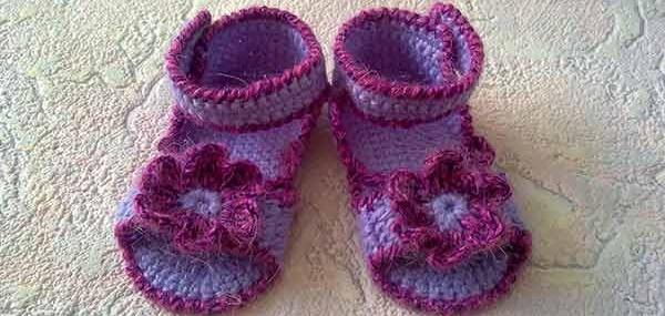вязанная обувь для малышей, пинетки для девочки, вязание крючком сандалей