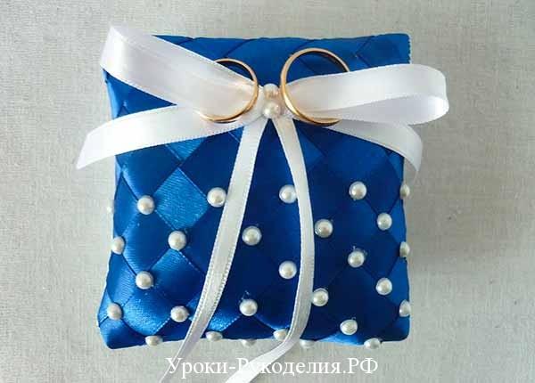 мк подушечка, синяя подушка для колец, мастер-класс по шитью с выкройками, декор бисером, свадьба, украшение на свадьбу