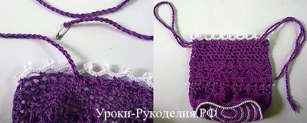 как вдеть шнурок, кайма вязанная крючком, декор сумки, вязанные цветы крючком. объёмные цветы как связать, сумочка-мешочек для девочки, мк по вязанию сумки, сумка на шнурке