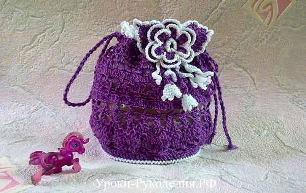 объёмный вязанный цветок, как связать, сумка крючком, как связать пышный цветок, как связать объёмный цветок, цветы на сумку, цветы для декора, украшение на сумку, модная сумочка для девочки, уроки рукоделия