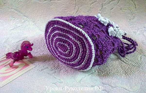 вязание сумочки крючком, донышко сумки, как сделать сумку с цветком, романтичная сумка, как связать сумочку-мешочек крючком, декор сумки, вязанные аксессуары, украшения из цветов,рукодельный урок