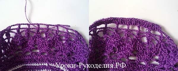 ажурный узор крючком, схема сумки, вязанная сумочка-мешочек для девочки, вязание крючком, урок рукоделия, дно сумки, объёмный цветок на сумку, сумочка под платье
