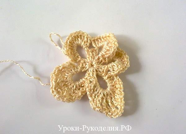 цветок крючком, ажурный мотив крючком, как связать
