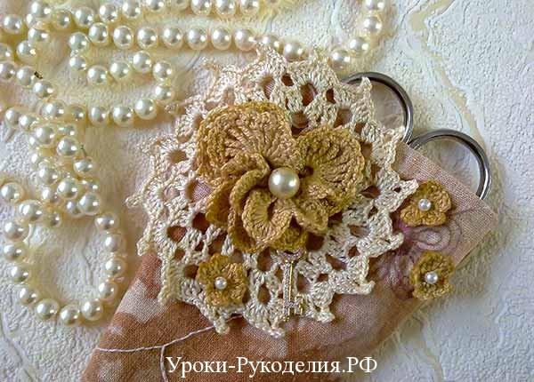 бисерное украшение, шитьё, вязание крючком, ажурный мотив, цветы крючком, ирландское кружево, декор, рукоделие