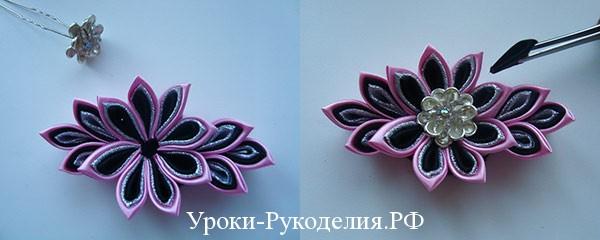 красивый цветок канзаши, объёмный цветок канзаши, рукодельный урок канзаши цветка, как сделать цветок из шёлка