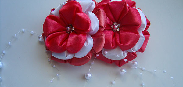 канзаши, цветок, лепесток, клей, волос, ленты, коралловых, цветка, лепестков, клея, пышный цветок канзаши