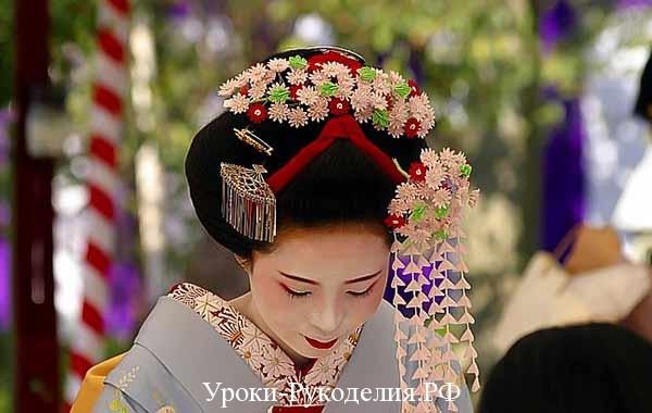 остроконечные канзаши, история моды, японскоие украшения для волос, казаши как сделать, цветы из ткани