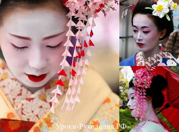 красивые канзаши, объёмный цветок из ткани, атланая лента цветок канзаши, хана канзаши история моды, как сделать висячие канзаши, аксессуар на голову из цветов