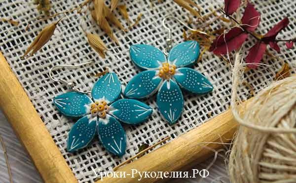 текстурные серьги из полимерной глины, мк лепка цветок полимерная глина, поделки изделия из глины полимерной, пластик