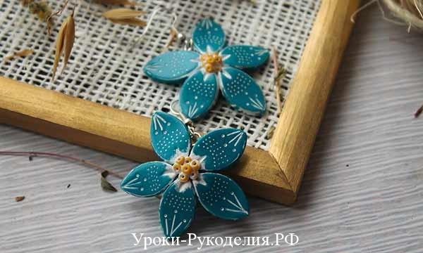 цветы из полимерной глины, поделки мк серёжки, своими руками полимерная глина, пластик запекание