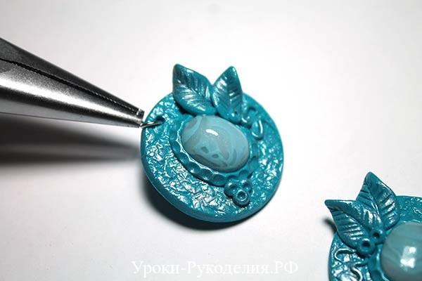 имитация агата, серьги с камнем, голубой камень в серьгах, украшение для ушей, винтаж аксессуар, обжиг полимерной глины, формирование лепка из пластика, мк урок рукоделия, стиль винтаж