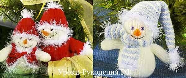 вязание снеговика, снеговик спицами, шапка для снеговика, нос морковка вязаный, декор нового года