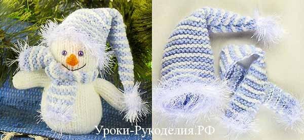 вязаный спицами снеговик, шапочка вязаная для снеговика, вязание под новый год, снеговик под ёлку