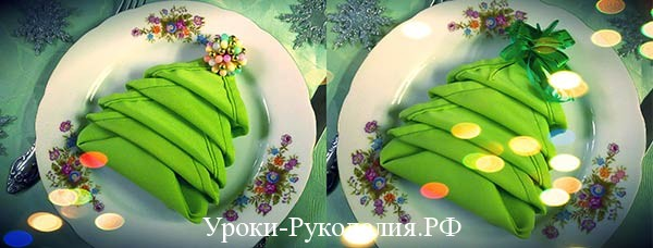 как сложить красиво тканевую салфетку, декор новогоднего стола