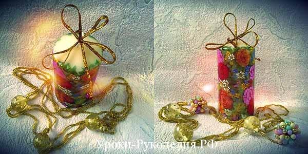декупаж техника салфеток, новогодний декупаж свечи, мк декупаж, подарки своими руками идеи, новый год декупаж