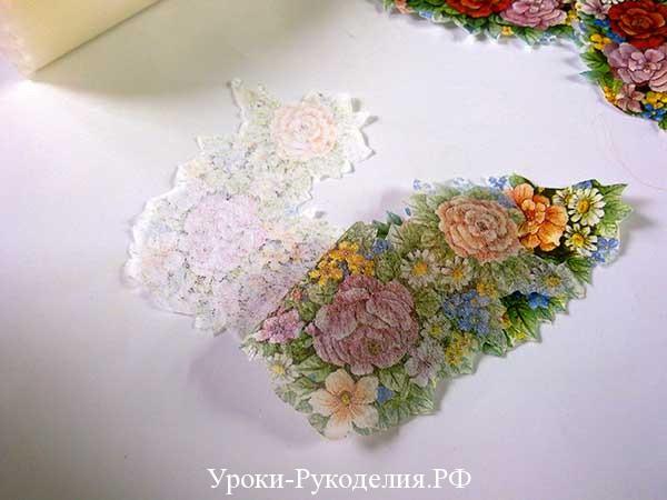 салфетки для декупажа, свеча декупаж, краски на основе воска, отделить слой салфетки