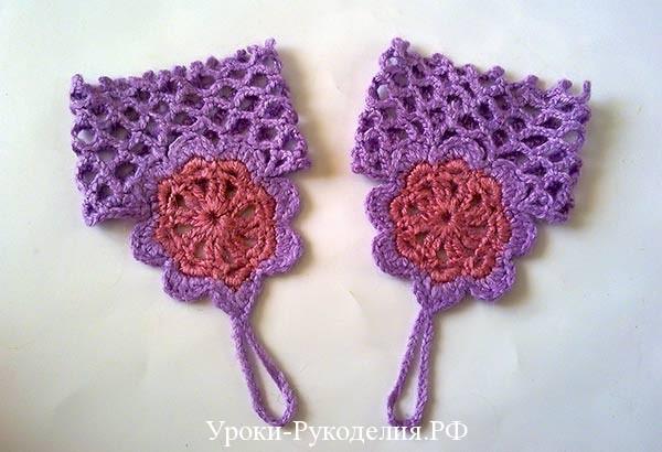 вязание ажурных митенок, пряжа для вязания, тёплые ажурные митенки