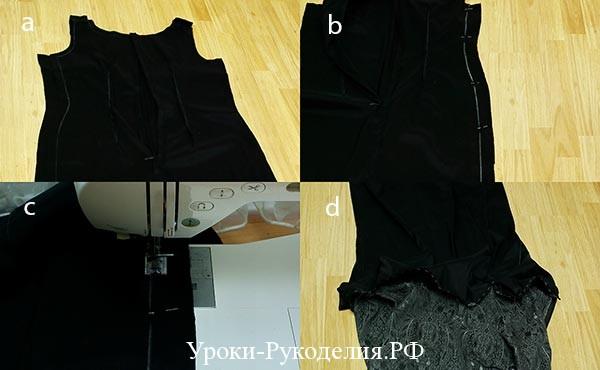соединить подкладу и платье, строчка, подшить платье, рукав буфы, прямое платье шитьё