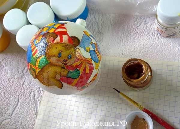 шарик на новый год декупаж, шарик на ёлку в технике декупаж своими руками