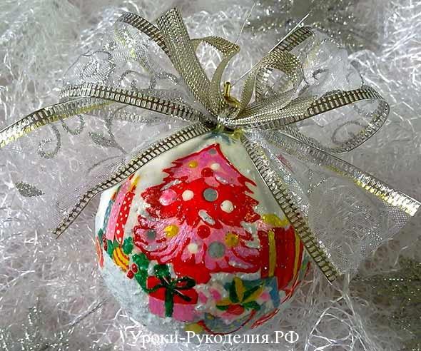 шарик со снегом сделать, на ёлку шар сделать, декупаж декор шаров, мастер-класс новогдний шарик