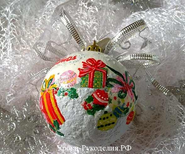 снег сделать самим, манка пва краска, игрушка шарик своими руками