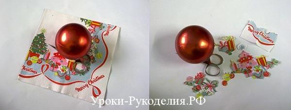 шарики задекупажить, новогодние шарики сделать, новогодний декор