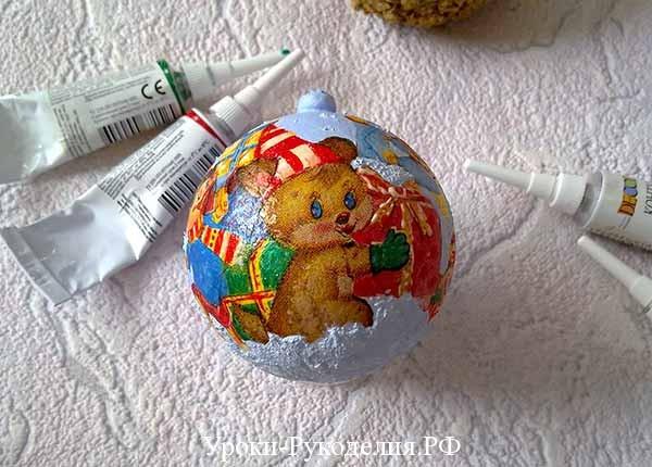 контуры для декупажа, декупаж шарика новый год, расписать шарик, игрушка на ёлку своими руками