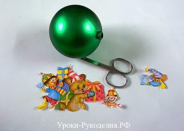 ёлочное украшение на ёлку, декупаж новогоднего шарика, красивый шарик на ёлку сделать