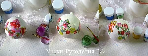 разукрасить шары к новому году, новогодний шарик со снегом