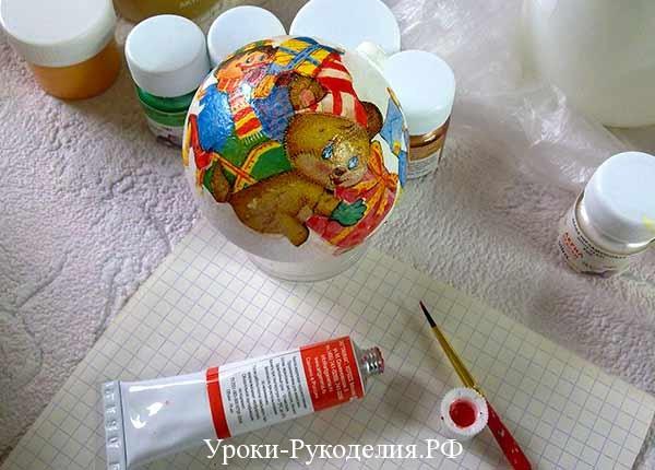 декупаж шарика на новый год, акриловые краски, кисточки для декупажа, роспись новогодних шаров