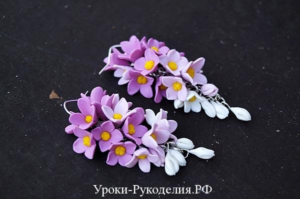 гроздья сирени в серьгах из полимерной глины, серьги из полимерной глины своими руками сделать, украшение из фомиана
