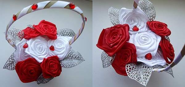 Свадебная корзина из роз
