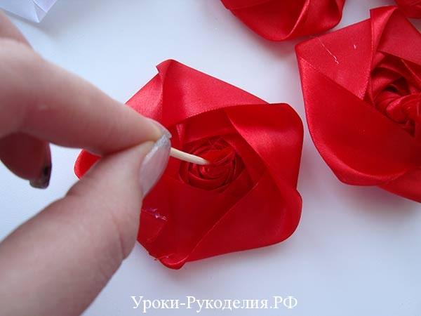 розы на зубочистках, оформление застолья, розы своими руками сделать