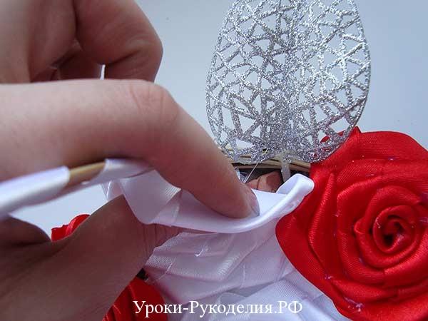 лепестки для роз канзаши, декоративные лепестки в букет, цветочная корзина из лент