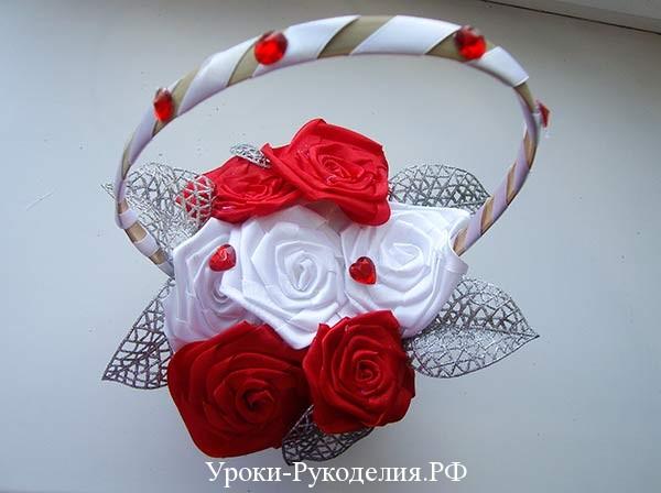 корзина с розами из лент, свадебная корзина, декор букета, невеста цветы искусственные, стразами украсить