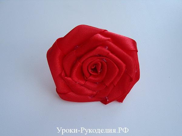 роза из ленты канзаши, роза канзаши мк, плоская роза канзаши