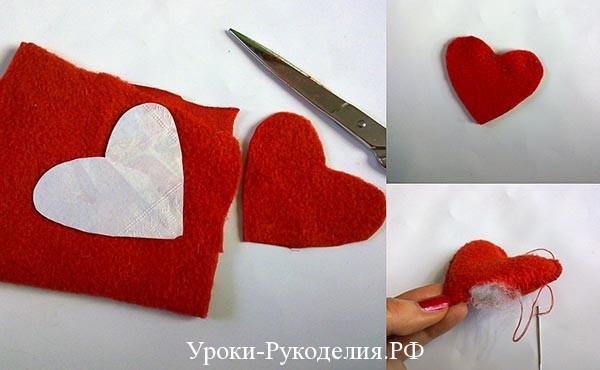 красный флис поделки, сердечко из флиса
