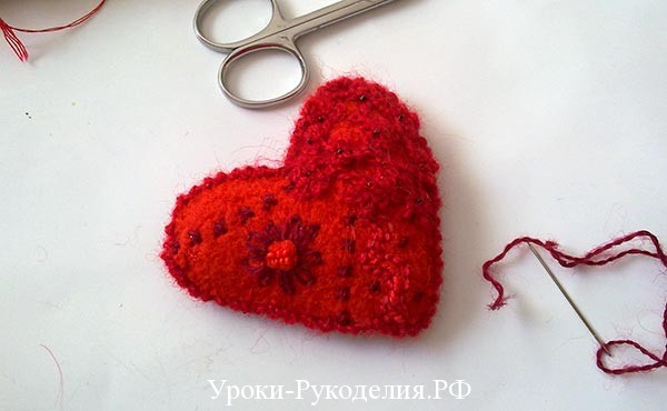 задекорировать валентинку, хендмейд, сердце из ткани